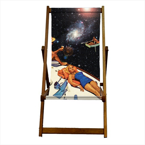 Space Boat Party - canvas deck chair by taudalpoi