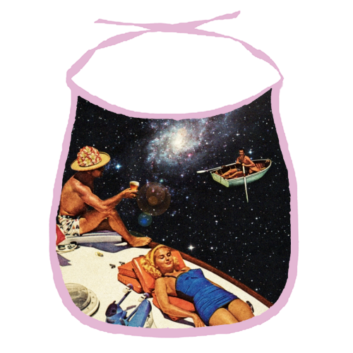 Space Boat Party - funny baby bib by taudalpoi