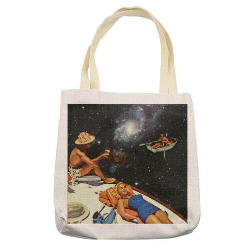 Space Boat Party - printed tote bag by taudalpoi