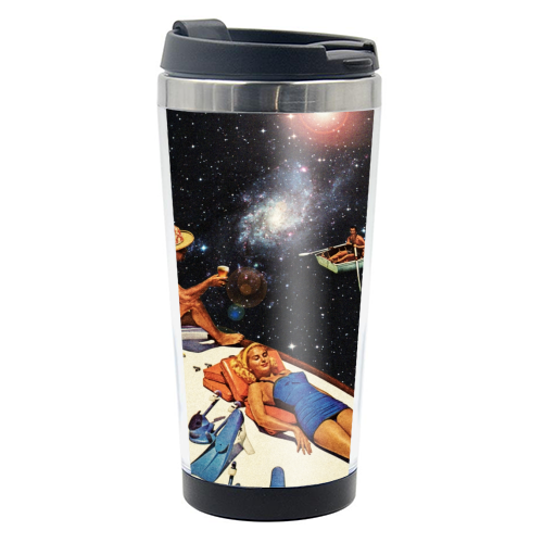 Space Boat Party - travel water bottle by taudalpoi