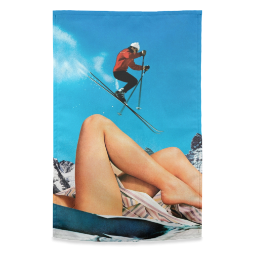 Ski Jump - funny tea towel by taudalpoi