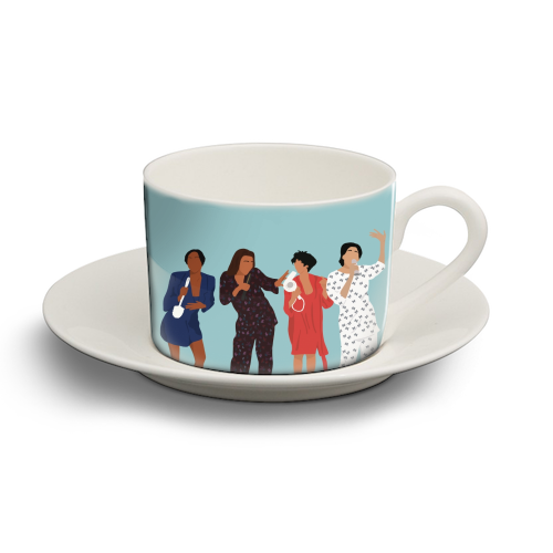 Living Single - personalised cup and saucer by Cheryl Boland