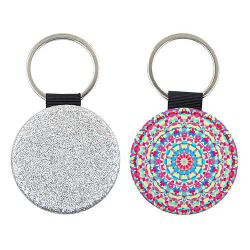 Vivid Colorful Groovy Mandala - personalised picture keyring by Kaleiope Studio
