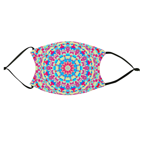 Vivid Colorful Groovy Mandala - washable face mask by Kaleiope Studio