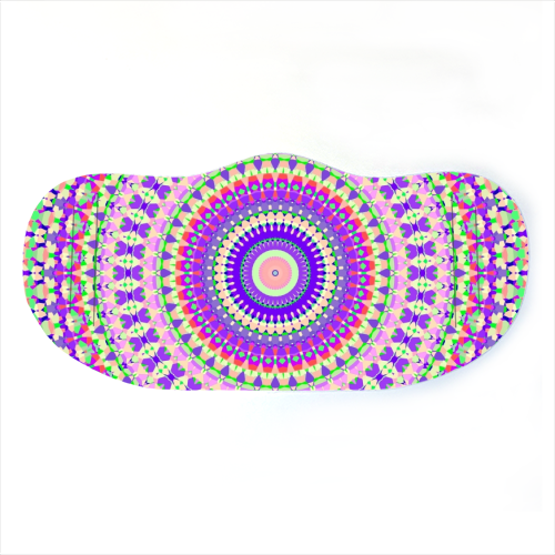 Vivid Colorful Intricate Mandala - washable face mask by Kaleiope Studio