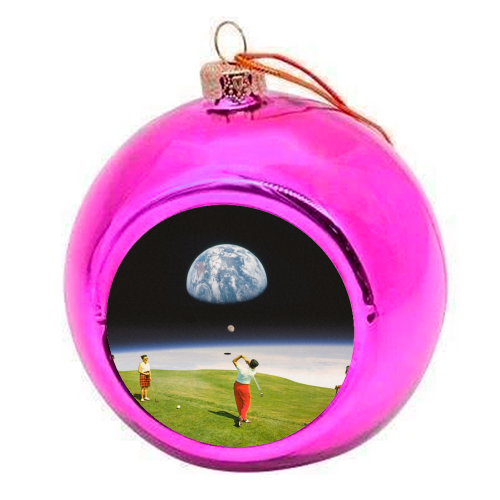Space Golfers - colourful christmas bauble by taudalpoi