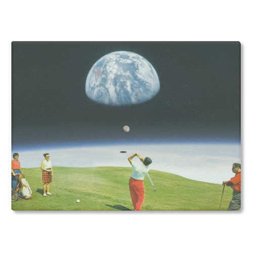 Space Golfers - glass chopping board by taudalpoi