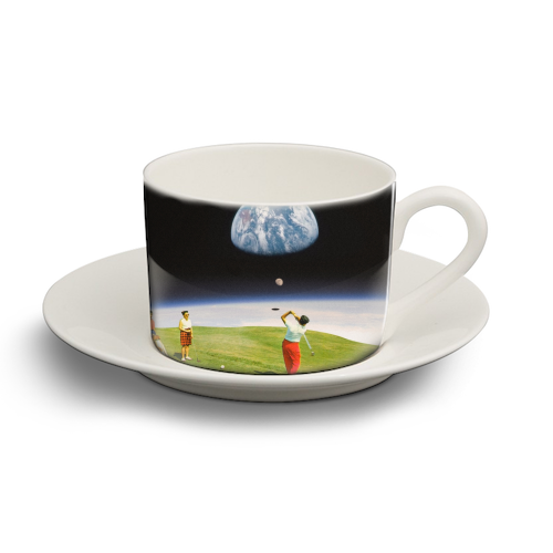 Space Golfers - personalised cup and saucer by taudalpoi
