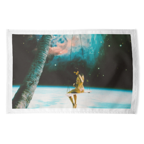 Hanging Out In Space - funny tea towel by taudalpoi