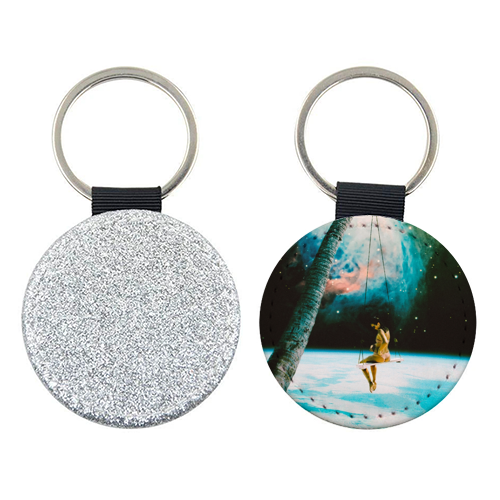 Hanging Out In Space - personalised leather keyring by taudalpoi