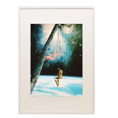 Hanging Out In Space - printed framed picture by taudalpoi