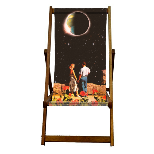 Lovers In Space - canvas deck chair by taudalpoi