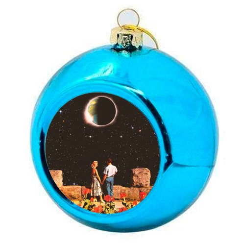 Lovers In Space - colourful christmas bauble by taudalpoi