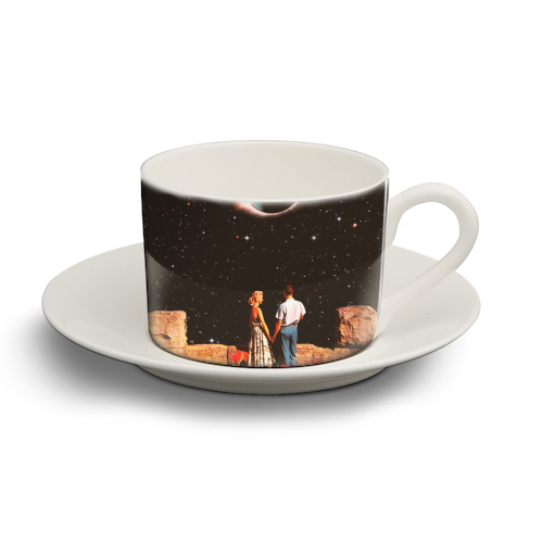 Lovers In Space - personalised cup and saucer by taudalpoi