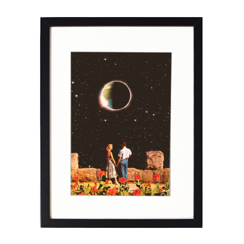 Lovers In Space - printed framed picture by taudalpoi