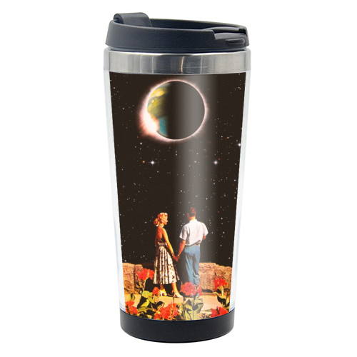 Lovers In Space - travel water bottle by taudalpoi