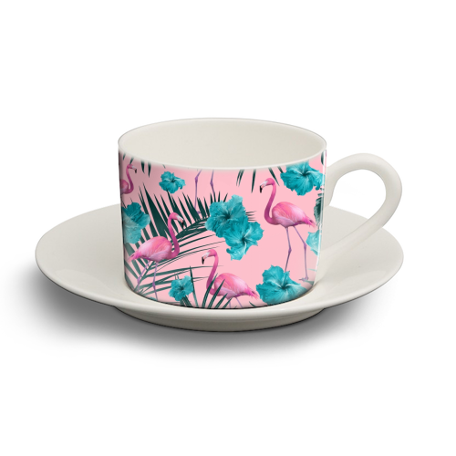 Tropical Flamingo Hibiscus Pattern #1 #tropical #decor #art - personalised cup and saucer by Anita Bella Jantz