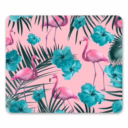 Tropical Flamingo Hibiscus Pattern #1 #tropical #decor #art - personalised mouse mat by Anita Bella Jantz