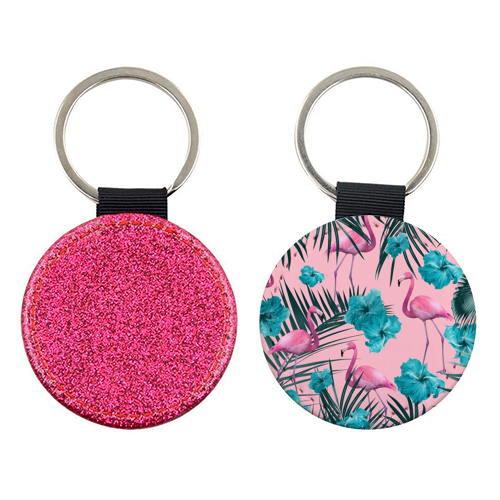 Tropical Flamingo Hibiscus Pattern #1 #tropical #decor #art - personalised picture keyring by Anita Bella Jantz