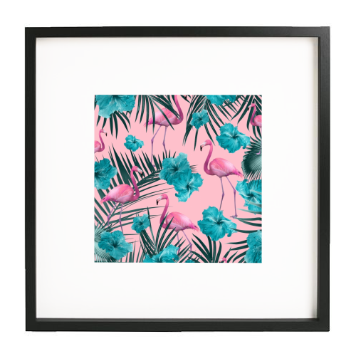 Tropical Flamingo Hibiscus Pattern #1 #tropical #decor #art - printed framed picture by Anita Bella Jantz