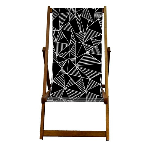 Abstraction Lines With Blocks - canvas deck chair by Emeline Tate