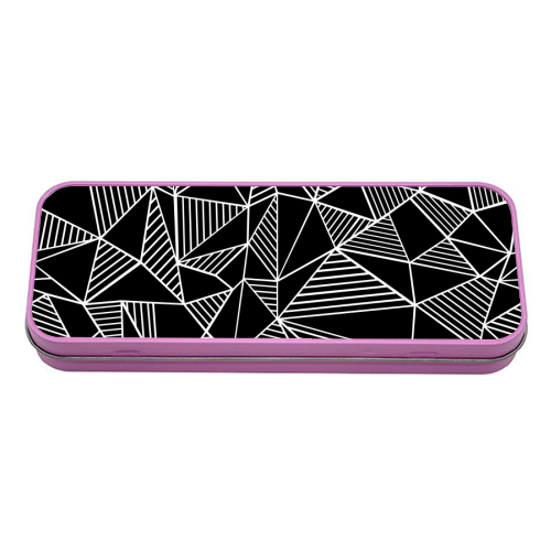 Abstraction Lines With Blocks - tin pencil case by Emeline Tate