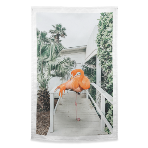 Flamingo Beach House - funny tea towel by Uma Prabhakar Gokhale