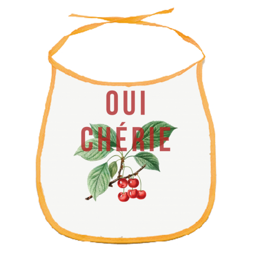 Oui Cherie - funny baby bib by The 13 Prints