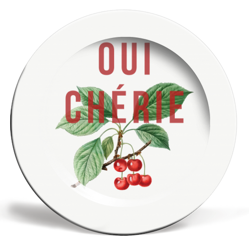 Oui Cherie - personalised dinner plate by The 13 Prints