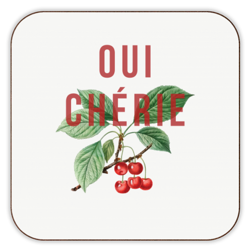 Oui Cherie - personalised drink coaster by The 13 Prints