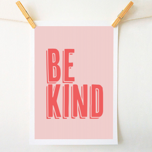 Be Kind Red and Pink Shadow - original print by Toni Scott