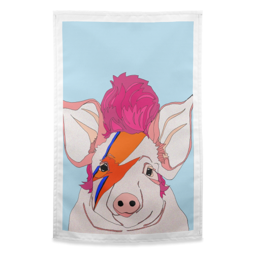 Piggy Stardust - funny tea towel by Casey Rogers