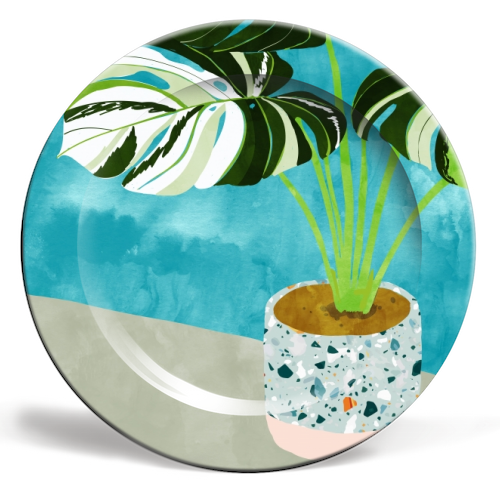 Variegated Monstera - personalised dinner plate by Uma Prabhakar Gokhale