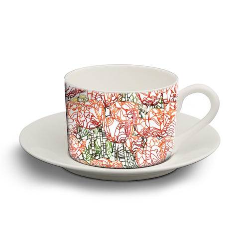 Tulip Garden - personalised cup and saucer by Uma Prabhakar Gokhale