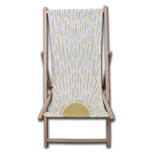 Wake Up And Smile / Gold White Sun Sunrise Sunshine - canvas deck chair by InspiredImages