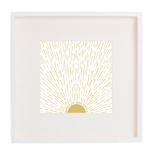 Wake Up And Smile / Gold White Sun Sunrise Sunshine - printed framed picture by InspiredImages