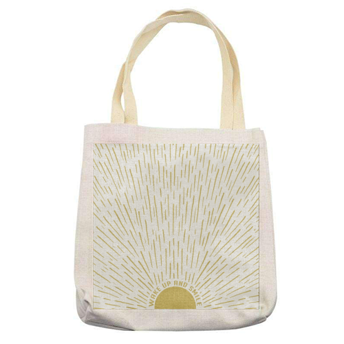 Wake Up And Smile / Gold White Sun Sunrise Sunshine - printed tote bag by InspiredImages