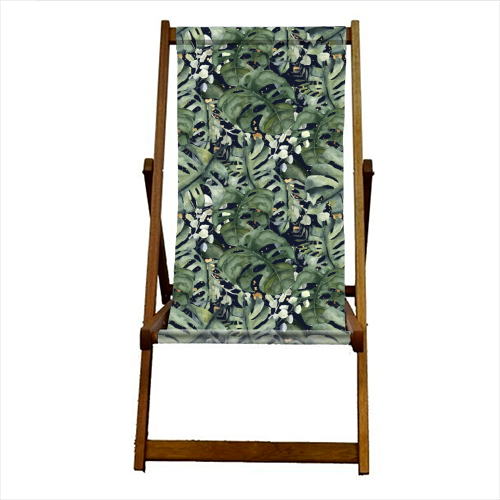 Tropical Blooms - canvas deck chair by Natalie Hancock