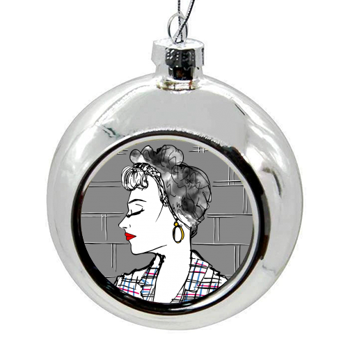 Rockabilly Girl Portrait - colourful christmas bauble by Bec Broomhall