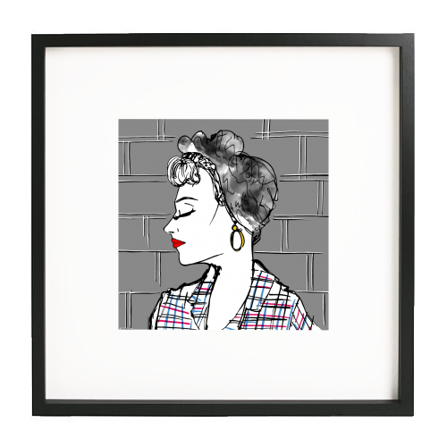 Rockabilly Girl Portrait - printed framed picture by Bec Broomhall