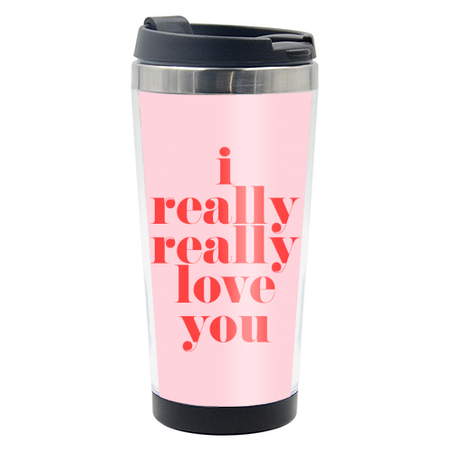I Really Really Love You | Pink & Red Decor - travel water bottle by The 13 Prints