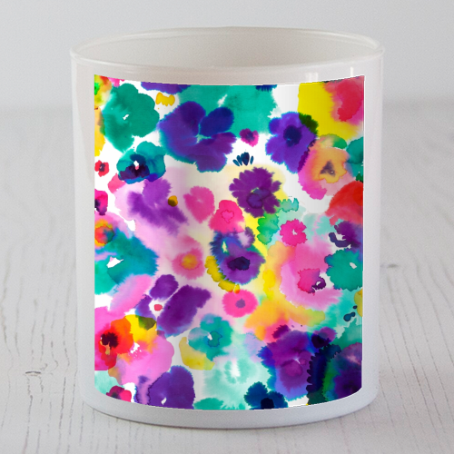 Abstract Watercolor Flowers - Candle by Ninola Design