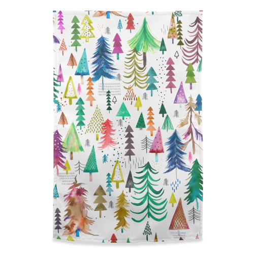 Winter Snow Trees - funny tea towel by Ninola Design