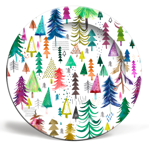 Winter Snow Trees - personalised dinner plate by Ninola Design
