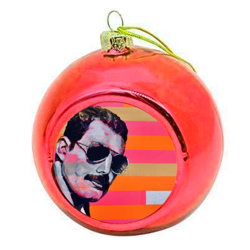 Freddie Mercury - colourful christmas bauble by Kirstie Taylor
