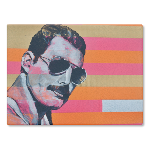 Freddie Mercury - glass chopping board by Kirstie Taylor