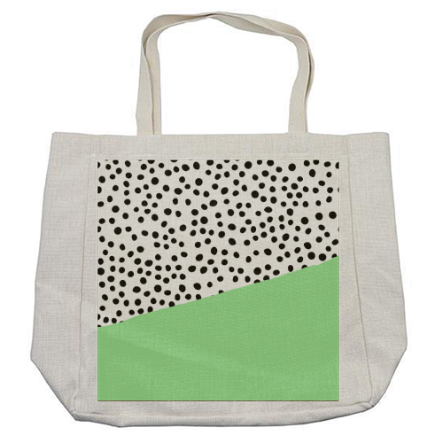 Mint Dalmatian print | green abstract print - cool beach bag by The 13 Prints