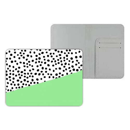 Mint Dalmatian print | green abstract print - designer passport cover by The 13 Prints