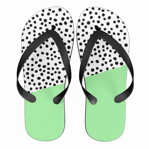 Mint Dalmatian print | green abstract print - funny flip flops by The 13 Prints