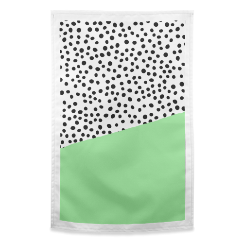 Mint Dalmatian print | green abstract print - funny tea towel by The 13 Prints